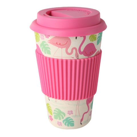 Tropical Flamingo Eco Bamboo Travel Mug
