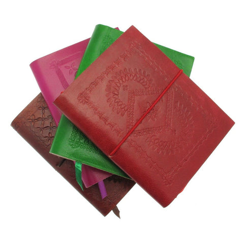 Medium Embossed Coloured Leather Notebook