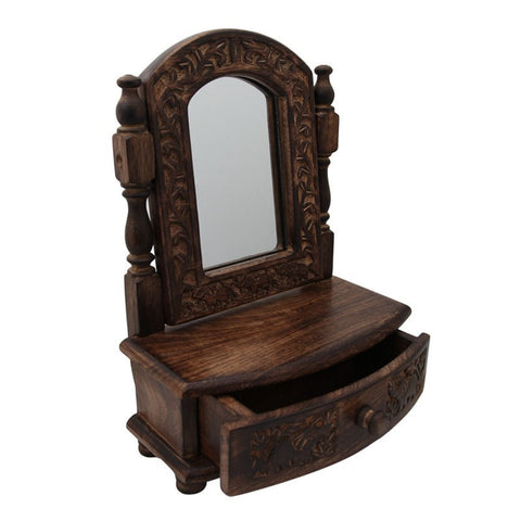 Mango Wood Vanity Mirror With Drawer
