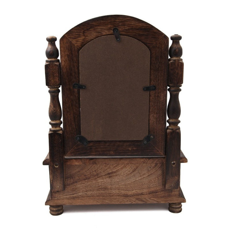 small mango wood vanity mirror back view