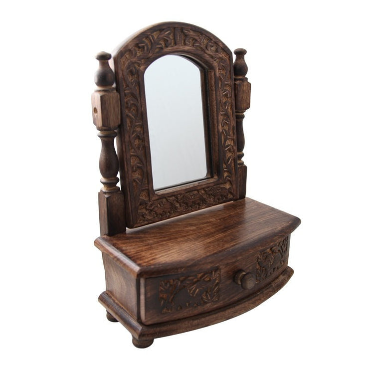 small mango wood vanity mirror with drawer closed