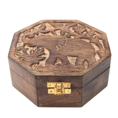 Hand Carved Elephant Mango Wood Box