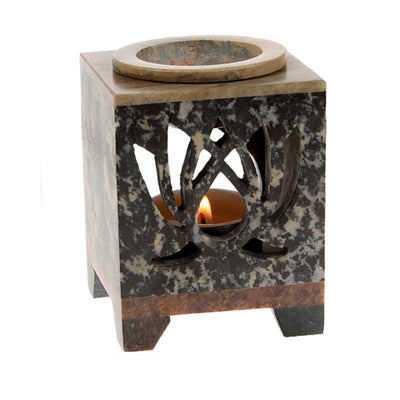 Stone Oil Burner Lotus Pattern