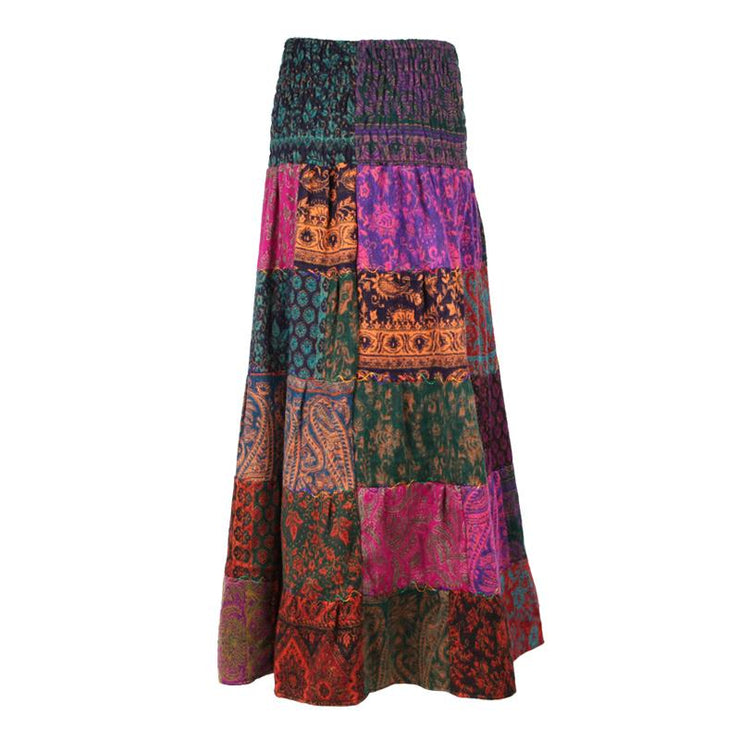 Tiered Patchwork Maxi Skirt