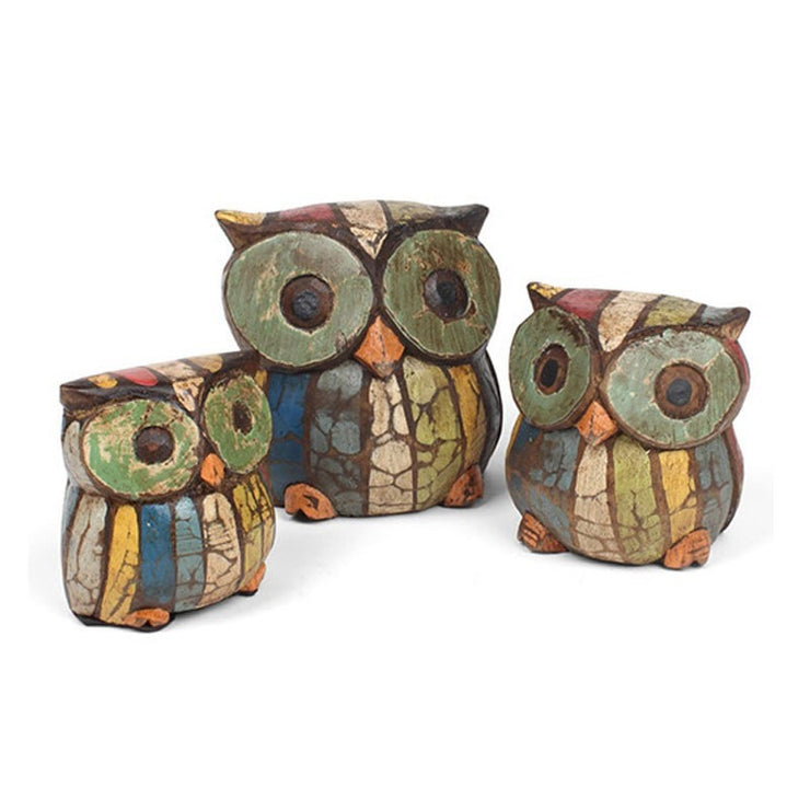 Rustic Wooden Set of 3 Owls