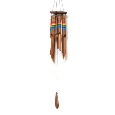 wooden wind chime with rainbow stripes