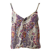 Paisley Button Up Crop Top