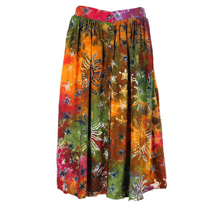 Button Through Batik Print Skirt