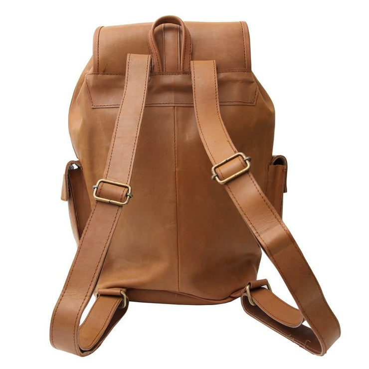 Brown leather rucksack showing the shoulder straps
