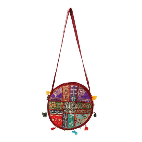 Indian Zardozi Style Embroidery Round Bag