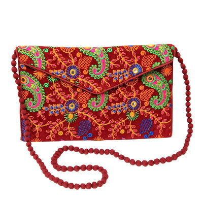 Embroidered Envelope Clutch Bag