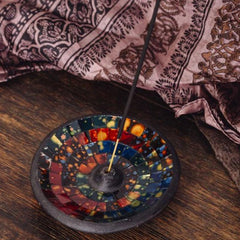 Round Mosaic Incense Holder