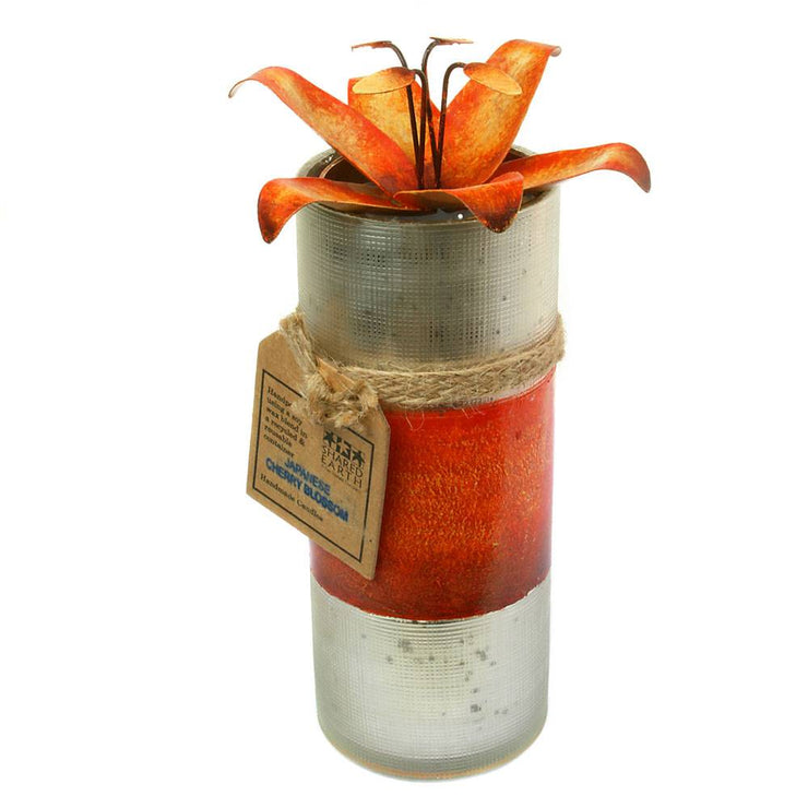 Candle in distressed recycled glass jar, Japanese Cherry Blossom, orange