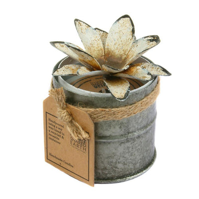 Candle in distressed recycled jar white lotus, Wood Fire