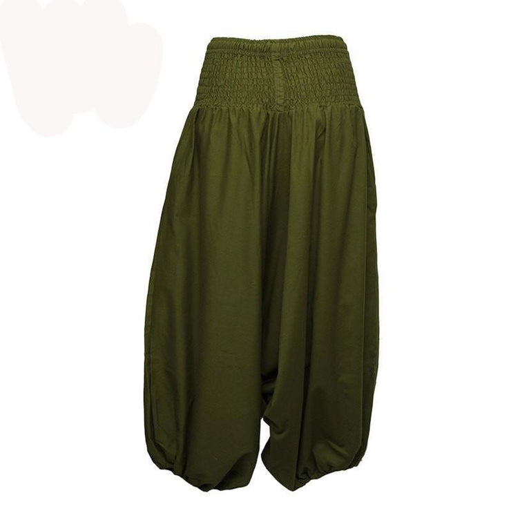 Coline Premium Harem Pants - Drop Crotch, elasticated and drawstring waist, lots of material that gathers around elasticated ankles - Green, back view