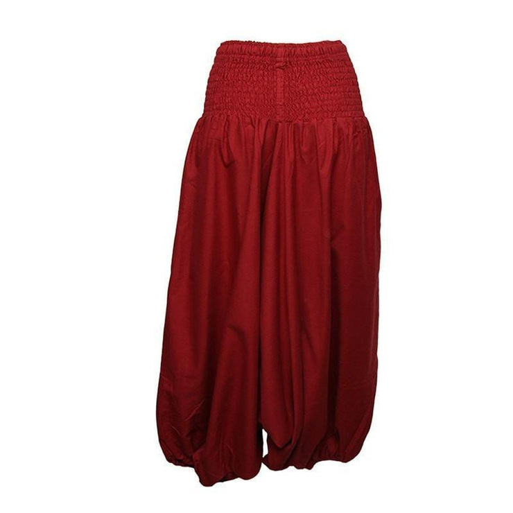 Coline Premium Harem Pants - Drop Crotch, elasticated and drawstring waist, lots of material that gathers around elasticated ankles - Red, back view