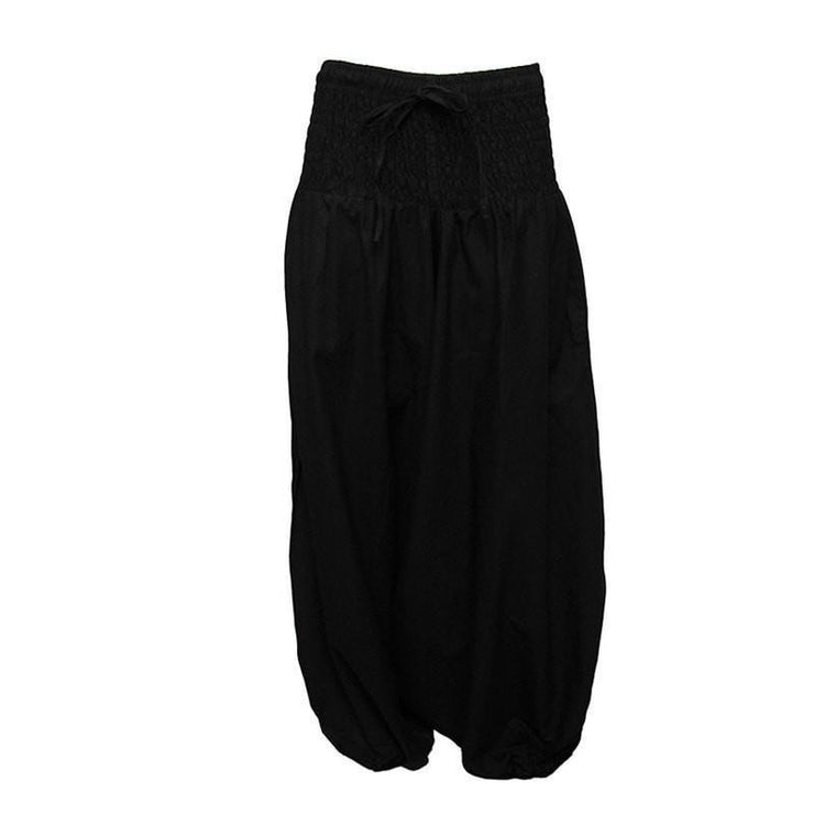 Coline Premium Harem Pants - Drop Crotch, elasticated and drawstring waist, lots of material that gathers around elasticated ankles - Black