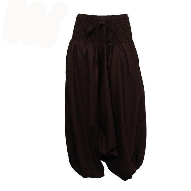 Coline Premium Harem Pants - Drop Crotch, elasticated and drawstring waist, lots of material that gathers around elasticated ankles - Brown