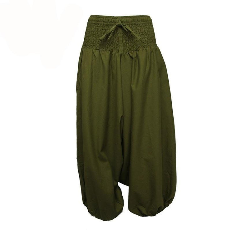 Coline Premium Harem Pants - Drop Crotch, elasticated and drawstring waist, lots of material that gathers around elasticated ankles - Green