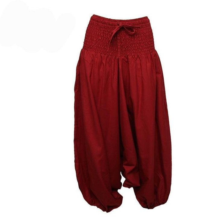 Coline Premium Harem Pants - Drop Crotch, elasticated and drawstring waist, lots of material that gathers around elasticated ankles - Red, front