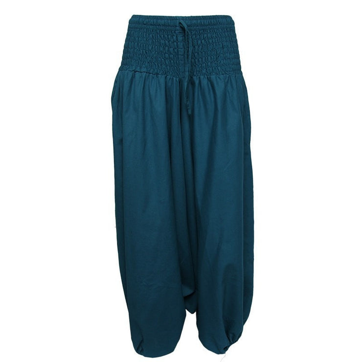 Coline Premium Harem Pants - Drop Crotch, elasticated and drawstring waist, lots of material that gathers around elasticated ankles - Petrol Blue