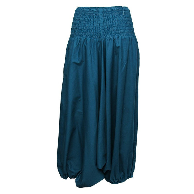 Coline Premium Harem Pants - Drop Crotch, elasticated and drawstring waist, lots of material that gathers around elasticated ankles - Petrol Blue, back view