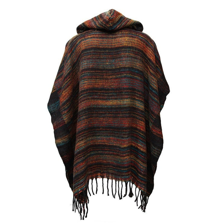 Warm Indian Hooded Poncho Black
