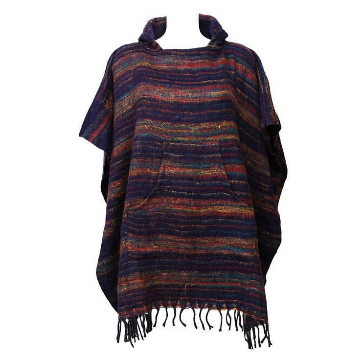 Warm Indian Hooded Poncho Dark Blue