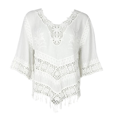 Crochet Embroidered Long Sleeve Blouse