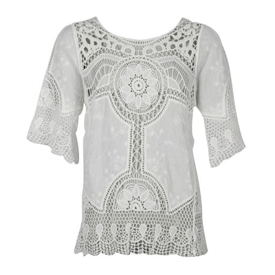 Crochet Embroidered Short Sleeve Blouse