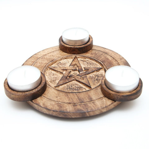 Pentagram Triple T-Light Holder