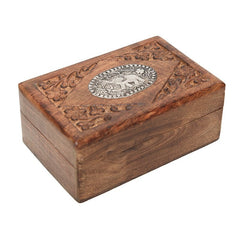 Wooden Box with Embossed Metal Elephant