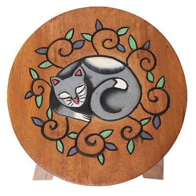Wooden Cat Footstool