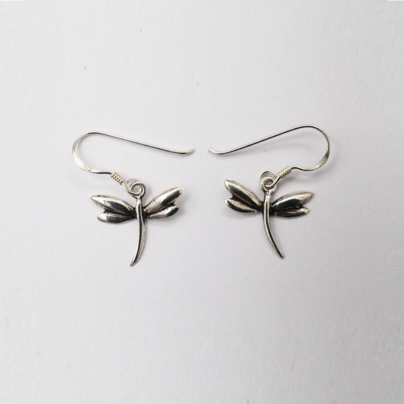 Dragonfly Silver Dangle Earrings