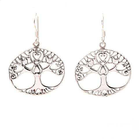 Tree Of Life Silver Earrings