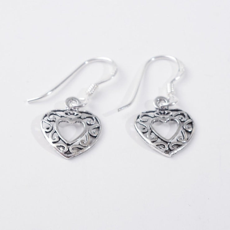 Filigree Silver Heart Earrings