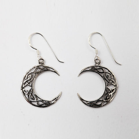 Celtic Moon Sterling Silver Earrings