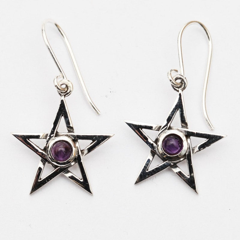 Pentagram with Amethyst Earrings