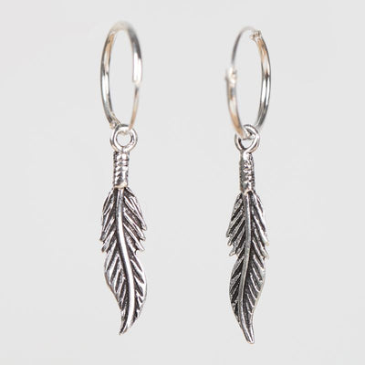 Sterling Silver Feather Drop Hoop Earrings
