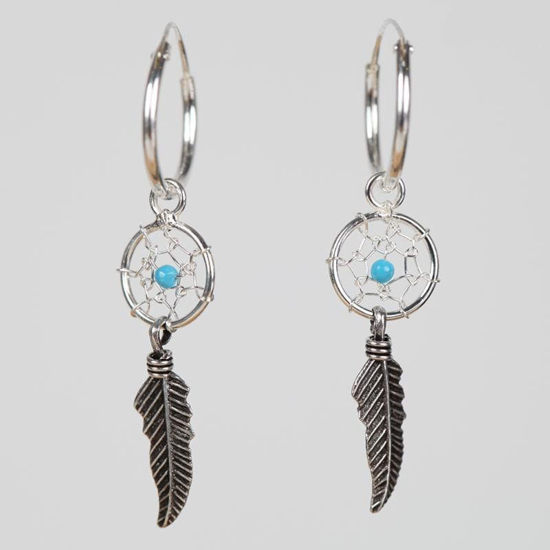 Hoop Drop Feather Dream Catcher Earrings