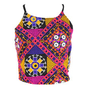 Halter Mirrorwork Crop Top With Tie Back