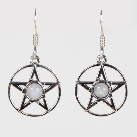 Pentagram And Moonstone Earrings