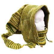 Knitted hood style pixie hat with built in high neck collar and fleece lining - Light and Dark Green Fuzz