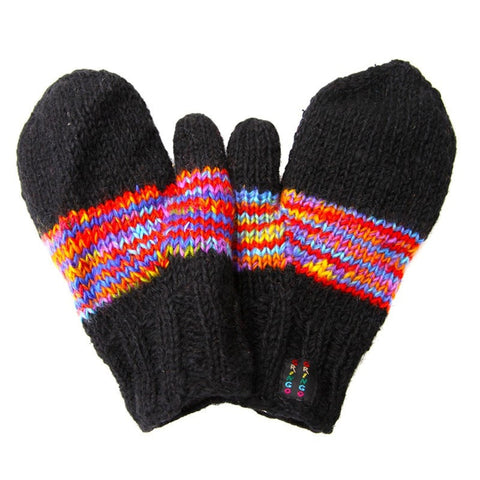 Fuzzy Rainbow Fleece lined Mittens