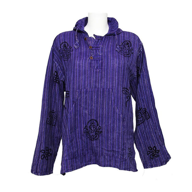 Hooded Shirt Stonewashed Block Printed, long sleeve with three buttons - Purple