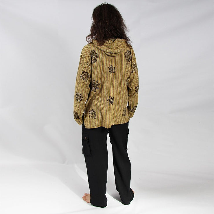 Hooded Shirt Stonewashed Block Printed, long sleeve with three buttons - Green, back view - modelled