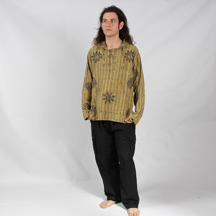 Hooded Shirt Stonewashed Block Printed, long sleeve with three buttons - Green, modelled