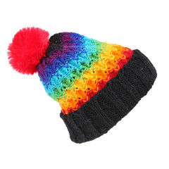 Chunky Knit Rainbow Bobble Hat
