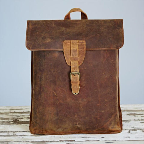 Fair Trade Leather Distressed Backpack