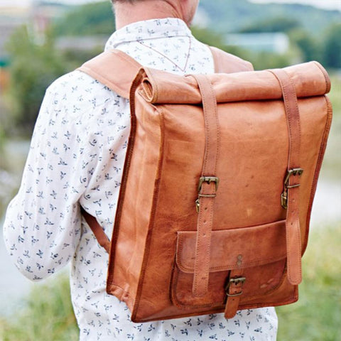 Fair Trade Large Leather Rolltop Backpack